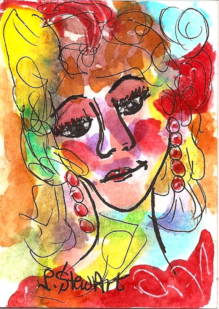 """ACEO Vegas Show Girl Watercolor and Pen, Original Art, not a print, colorful"" original fine art by Penny Lee StewArt"