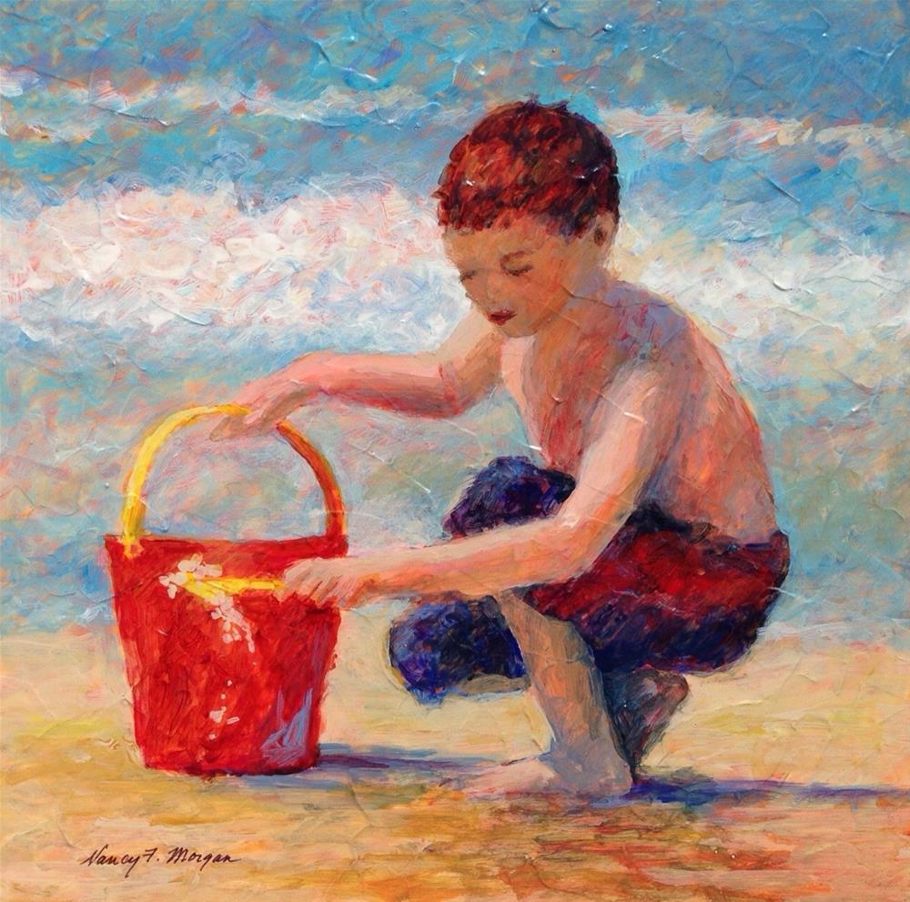 """Sand Play"" original fine art by Nancy F. Morgan"
