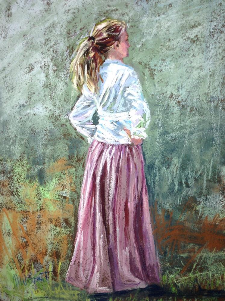 """Prairie Girl Waiting"" original fine art by Michelle Wells Grant"