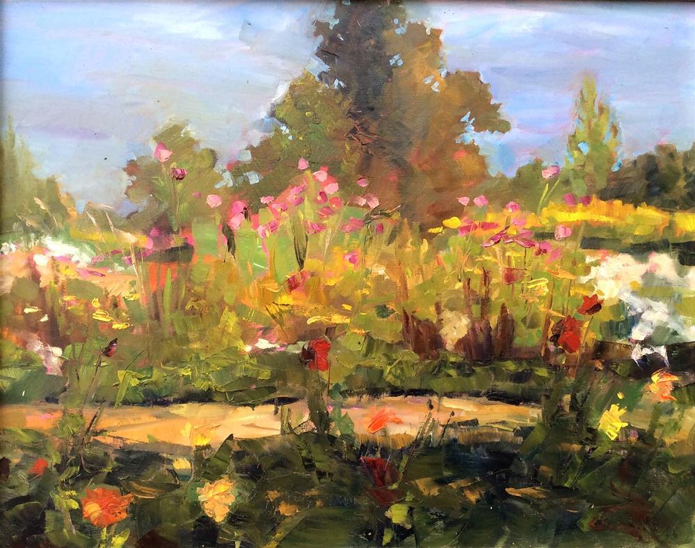 """Pink Cosmos at Cat Run Farm"" original fine art by Kathleen Gray Farthing"