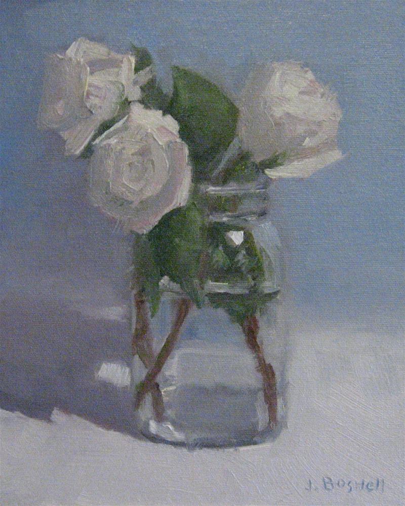 """White Roses in Jar"" original fine art by Jennifer Boswell"