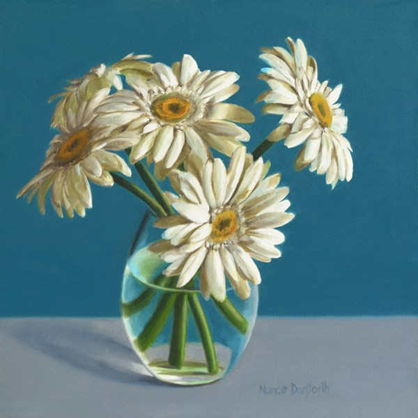 """White Daisies on Blue"" original fine art by Nance Danforth"