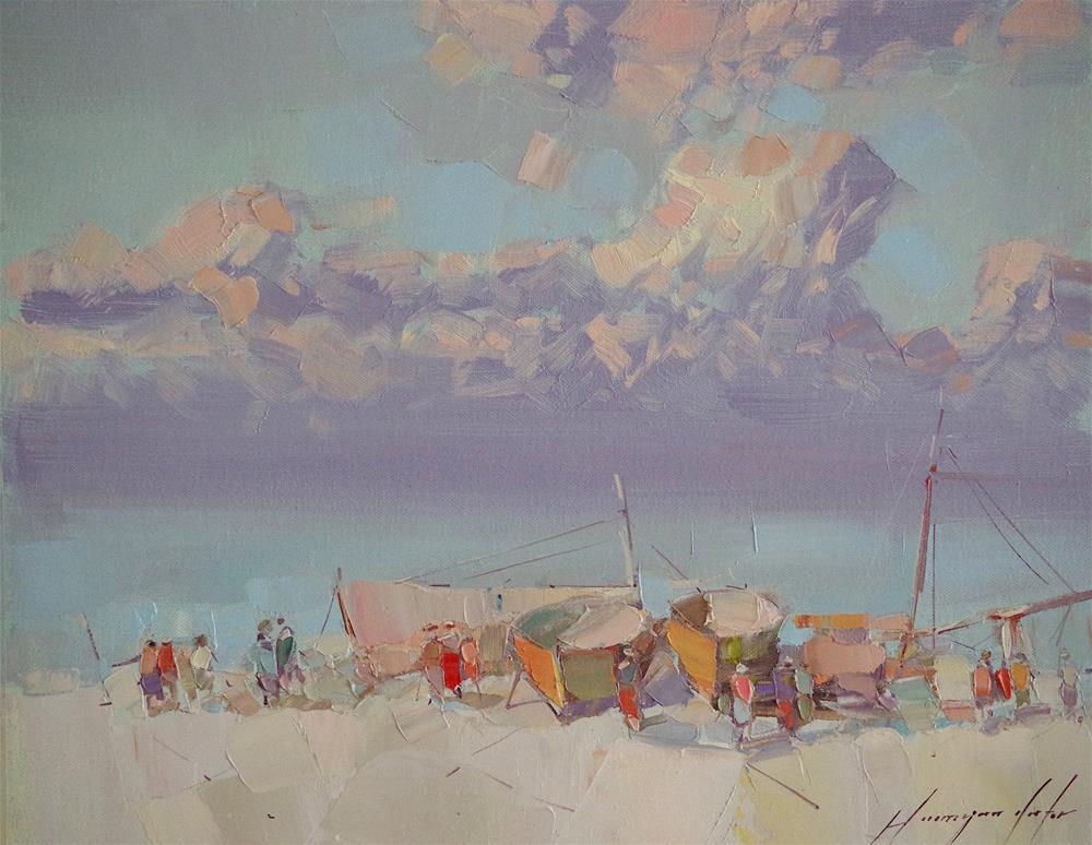 """Fishermans, Seascape oil Painting, handmade art, Signed"" original fine art by V Y"