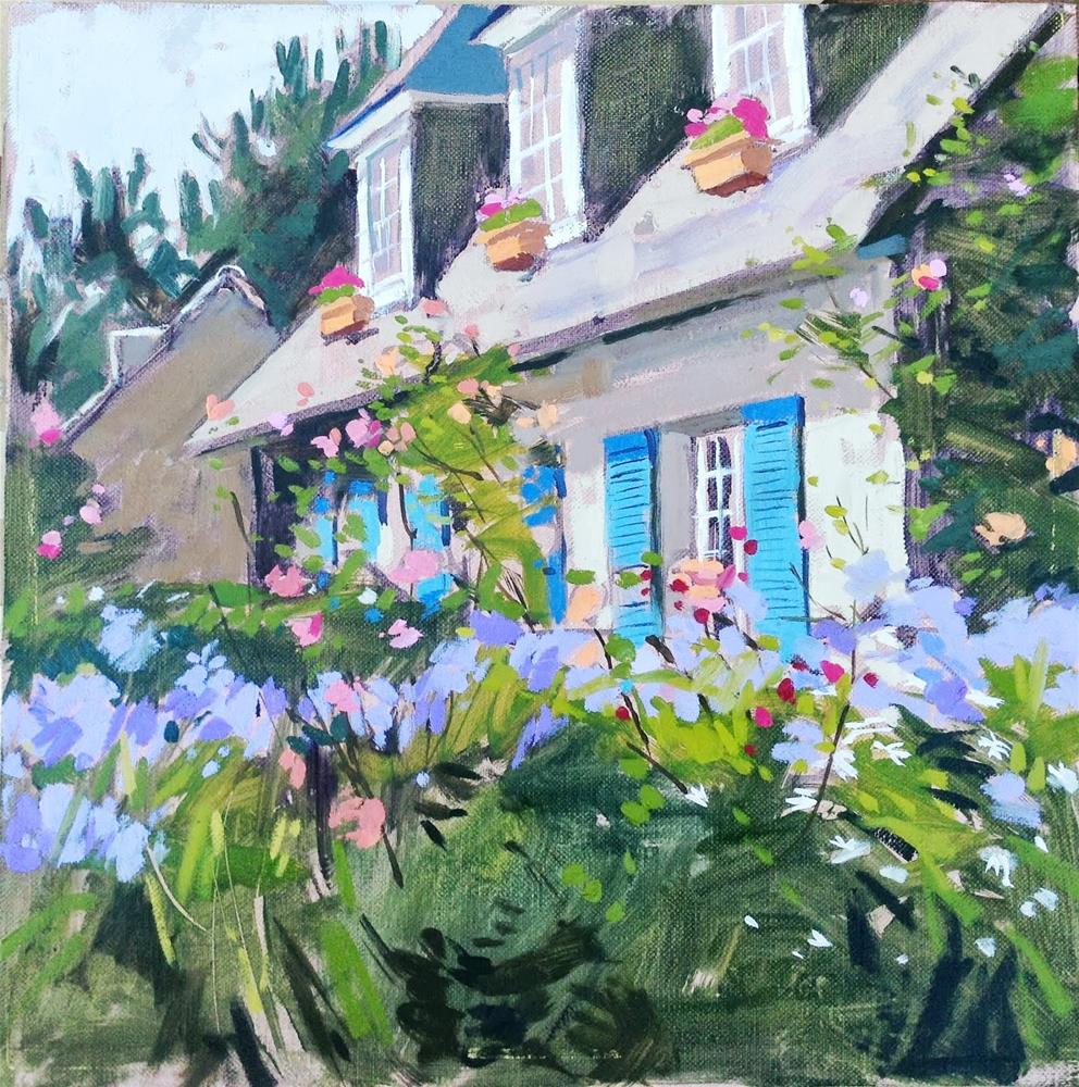 """Cottage with blue shutters"" original fine art by Haidee-Jo Summers ROI"