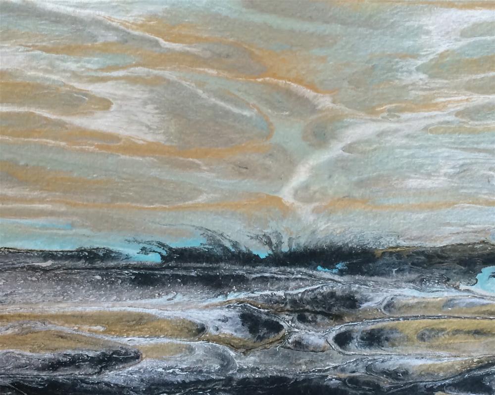 """Abstract Seascape,Beach, Ocean Coastal Living Decor Gulf Study #2' by Colorado Contemporary Artist"" original fine art by Kimberly Conrad"