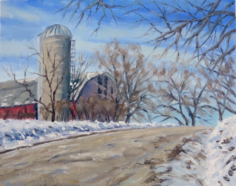 """Farm on Sunny Ridge Road en Plein air"" original fine art by Daniel Fishback"