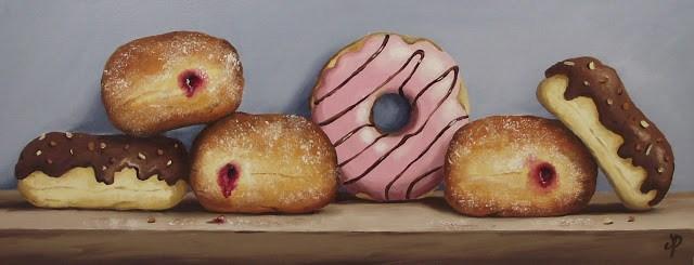 """Half Dozen Doughnuts"" original fine art by Jane Palmer"