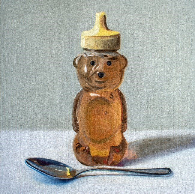 """Honey Bear and Spoon"" original fine art by Lauren Pretorius"