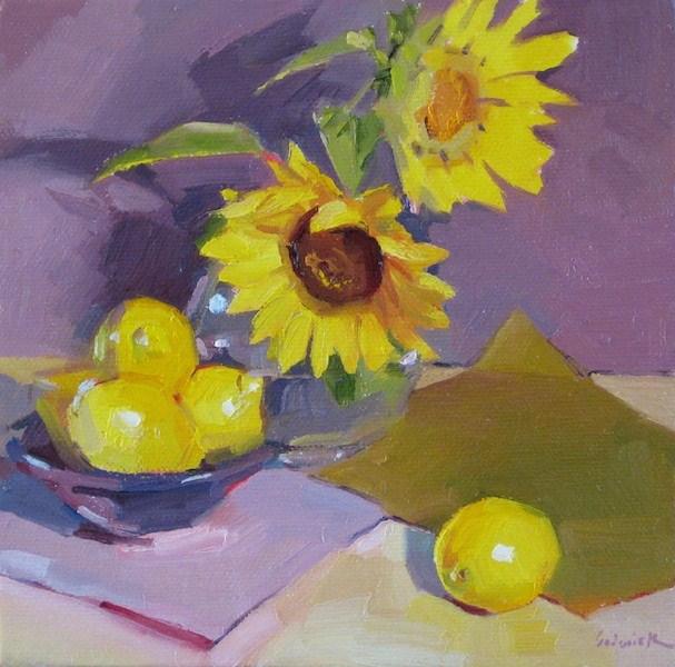 """Sunflower Spotlights daily painting floral flowers fruit lemons yellow purple"" original fine art by Sarah Sedwick"