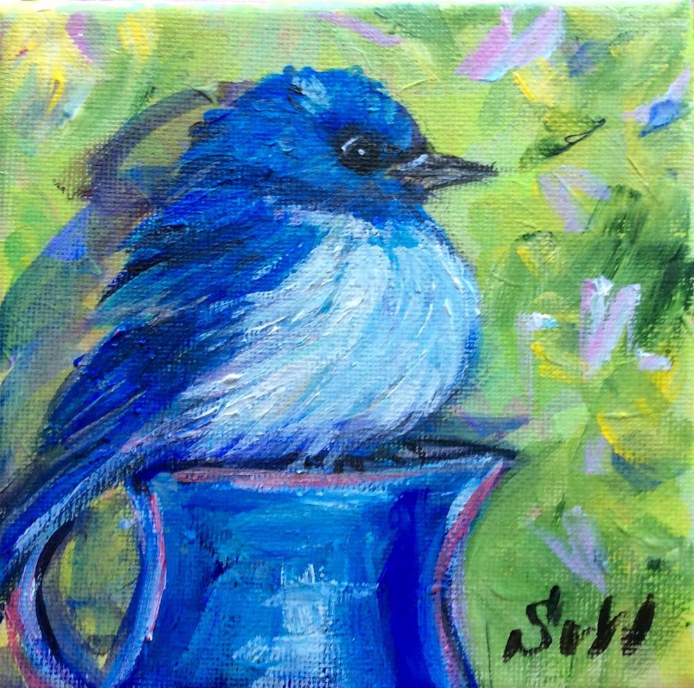 """Bluebird with blue jug 2"" original fine art by Sonia von Walter"