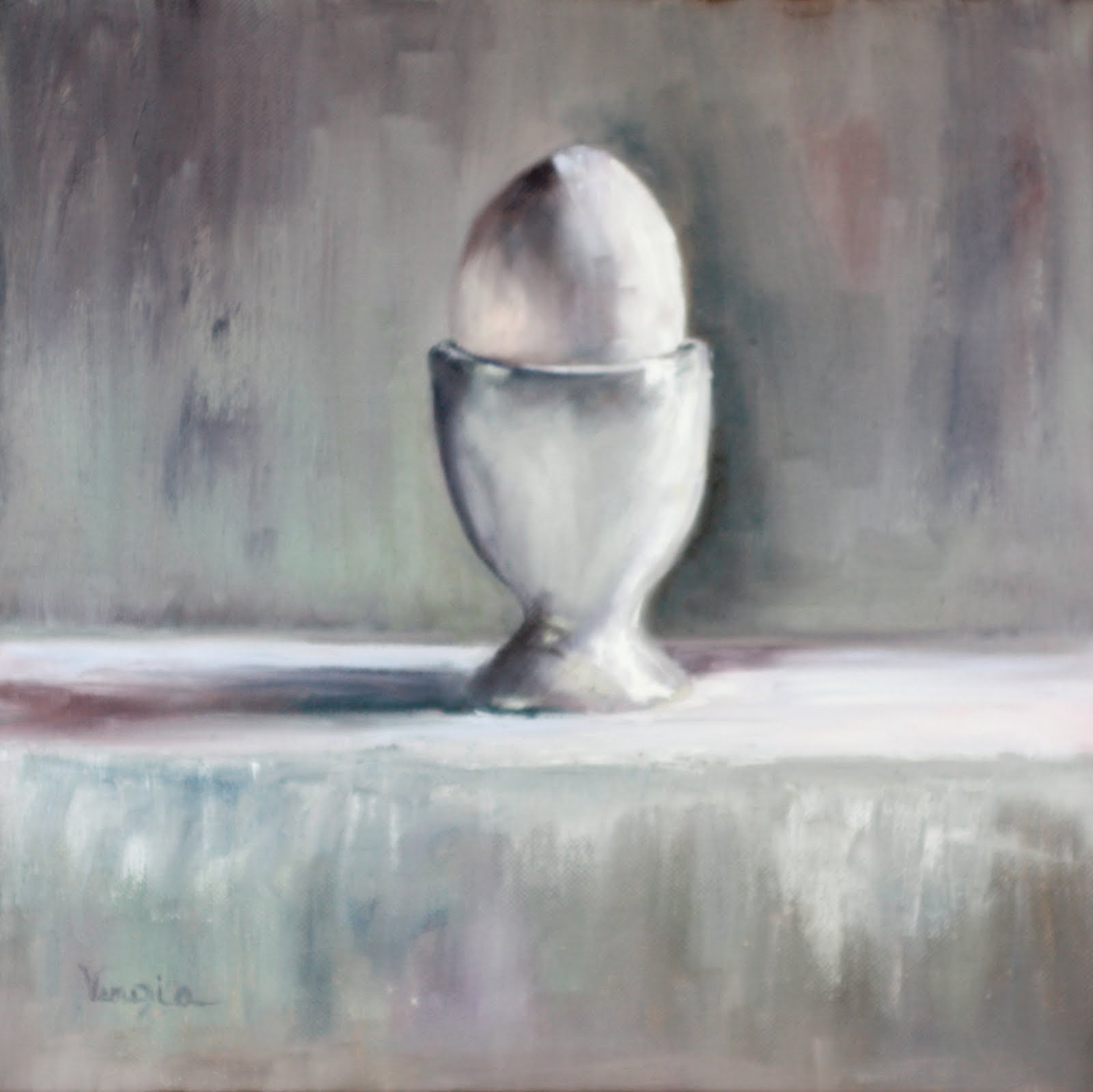 """oil painting still life with egg"" original fine art by Carrie Venezia"