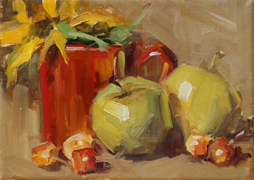 """apples and cherries"" original fine art by Carol Carmichael"