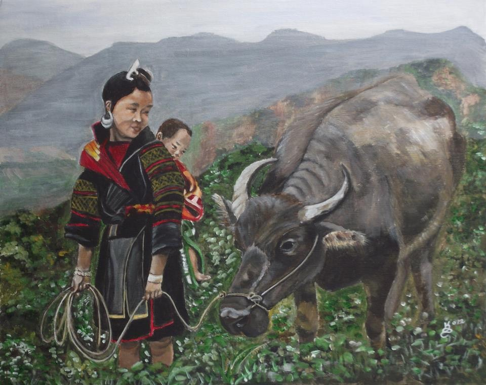 """Mom's little helper"" original fine art by Kim Selig"