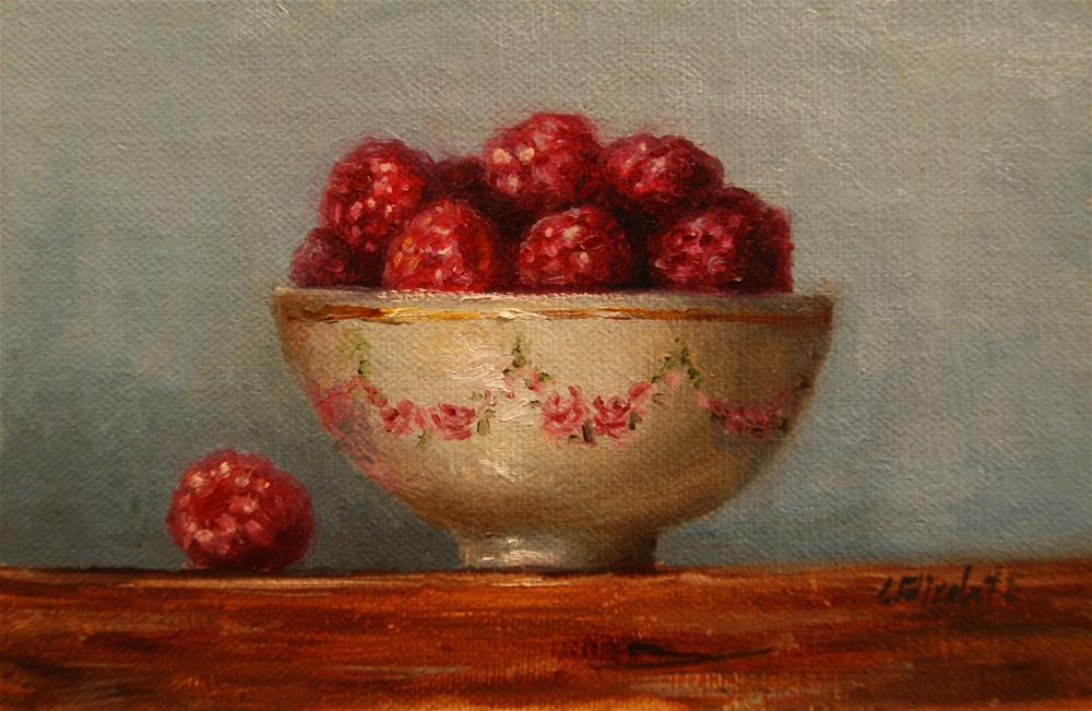 """Still Life Raspberries in Bowl,  Oil on 4x6 Linen Panel"" original fine art by Carolina Elizabeth"