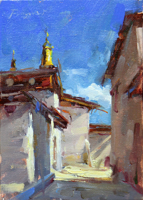 """Shangri - La -- the Temple"" original fine art by Fongwei Liu"