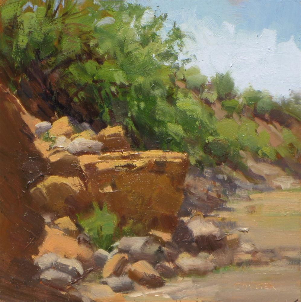 """RIVERBED ROCKS"" original fine art by James Coulter"
