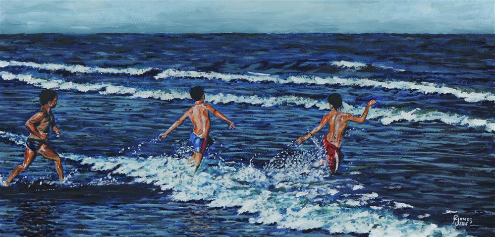 """Wave Runners"" original fine art by Fred Jones"