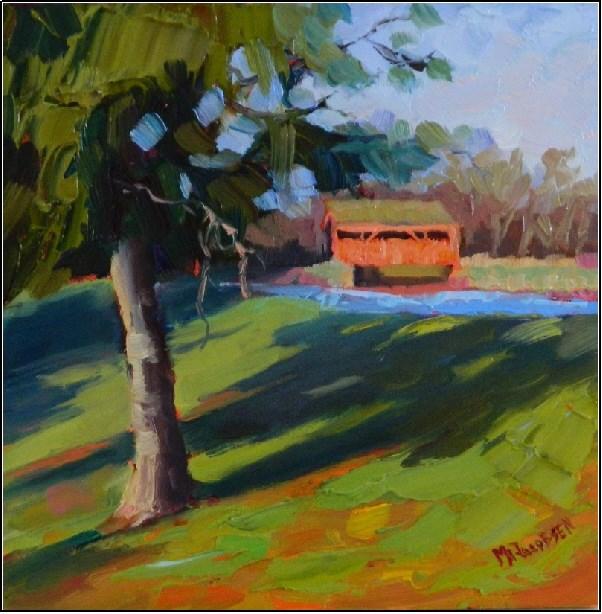 """Covered Bridge on Yoder Road"" original fine art by Maryanne Jacobsen"