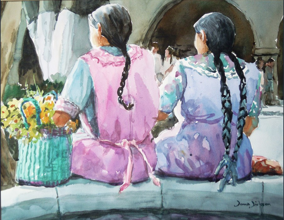 """Amigas Oaxaca"" original fine art by Donna Dickson"