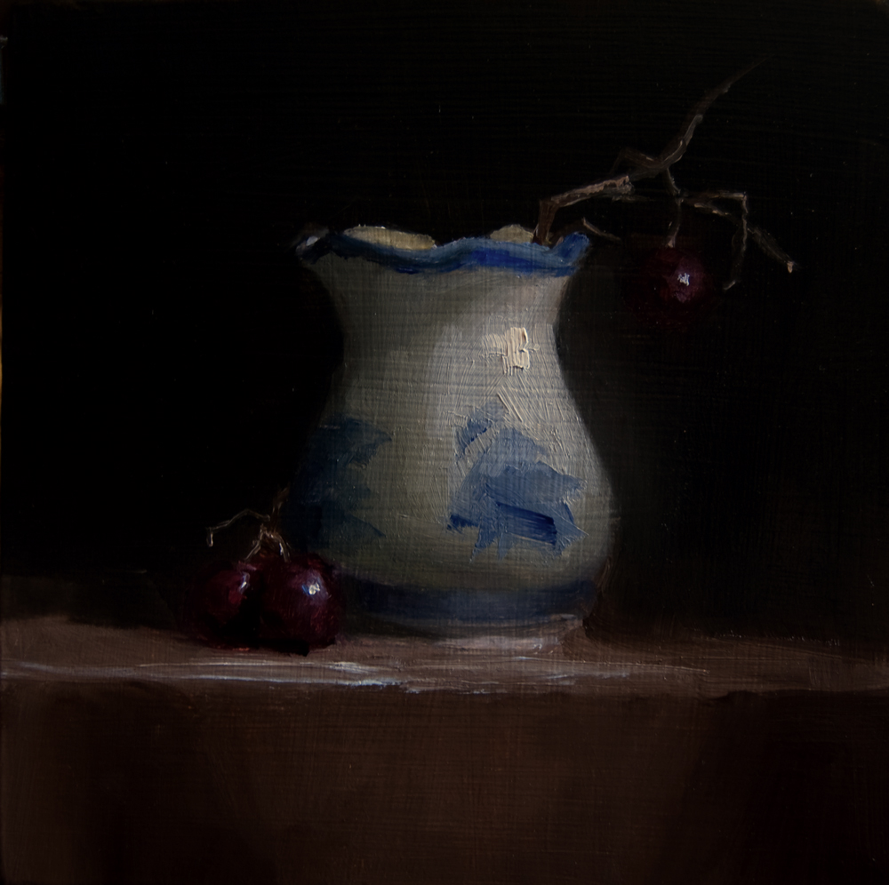 """Small Vase and Hanging Grape"" original fine art by Neil Carroll"