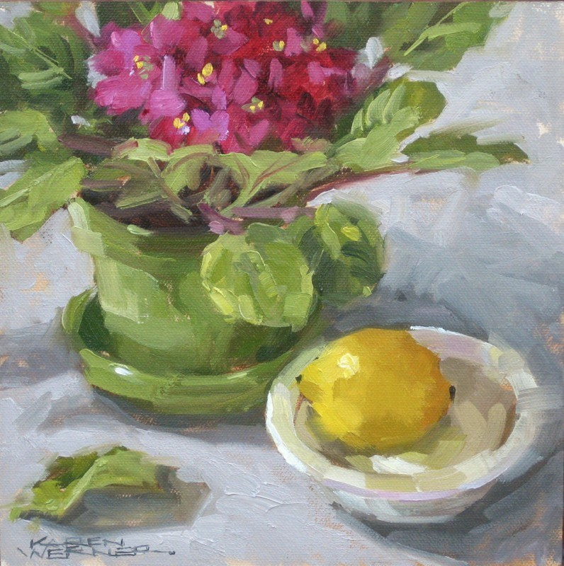 """Violets & Lemon"" original fine art by Karen Werner"