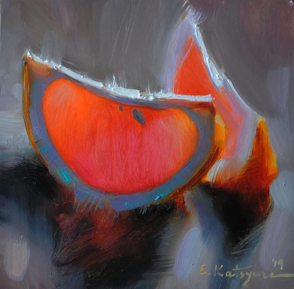 """Grapefruit on Gray"" original fine art by Elena Katsyura"