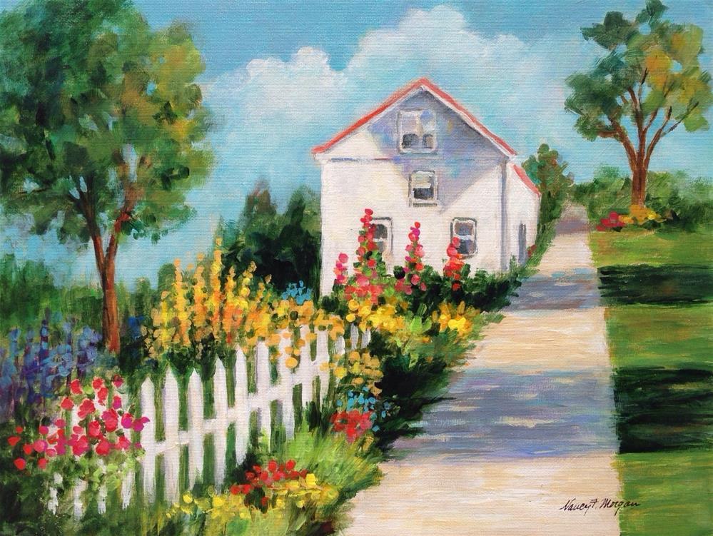 """""""Cottage Garden"""" original fine art by Nancy F. Morgan"""