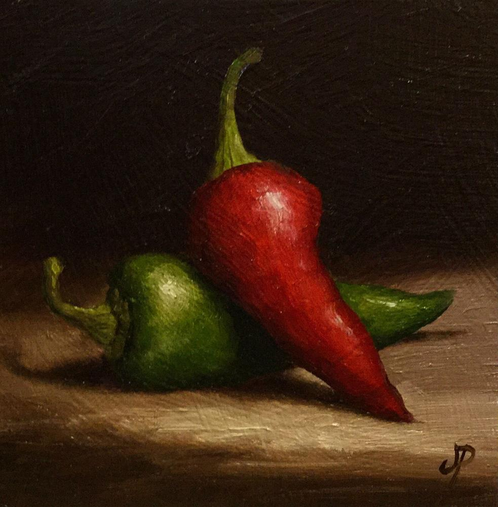 """Chillies"" original fine art by Jane Palmer"