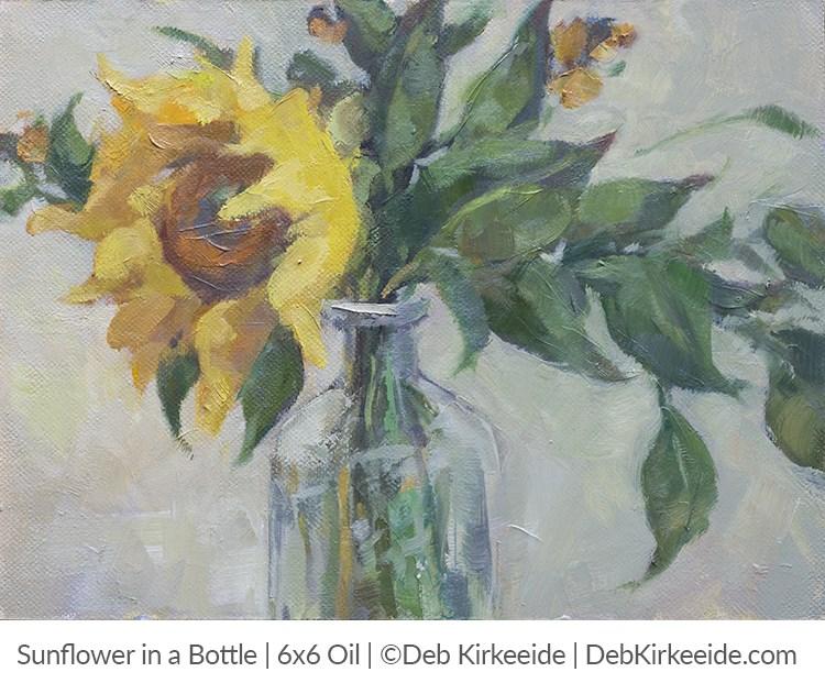 """""""Sunflower In A Bottle  -  original sunflower painting"""" original fine art by Deb Kirkeeide"""