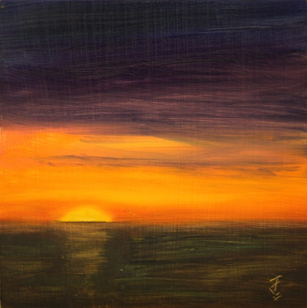 """Slow Setting Sun"" original fine art by Jane Frederick"