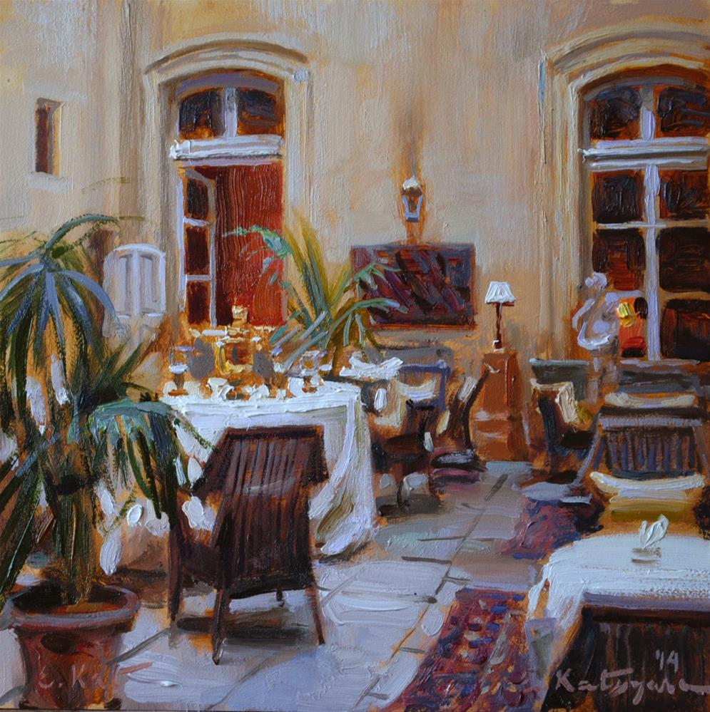 """Hotel Courtyard"" original fine art by Elena Katsyura"