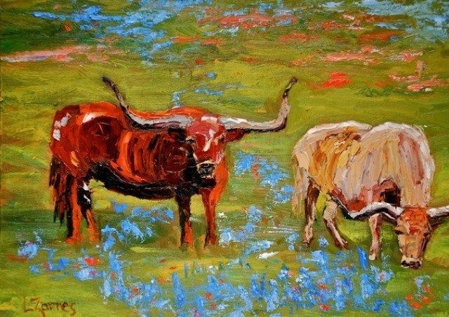 """Hill Country Grazers"" original fine art by Liz Zornes"