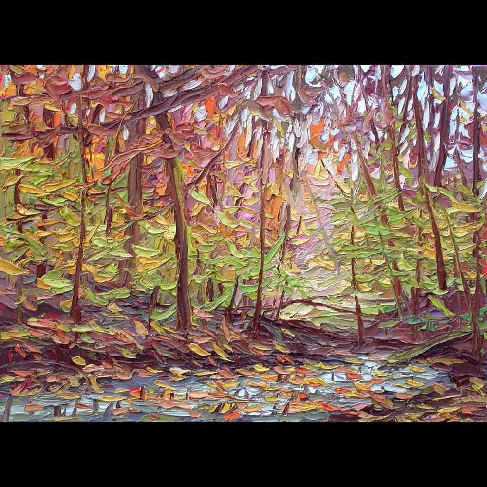"""110313 16x12 Fall Colors Along the Creek"" original fine art by Charlene Marsh"