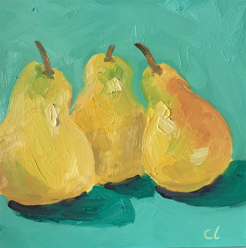 """Conversational Pears"" original fine art by Cheree Apalona Lueck"