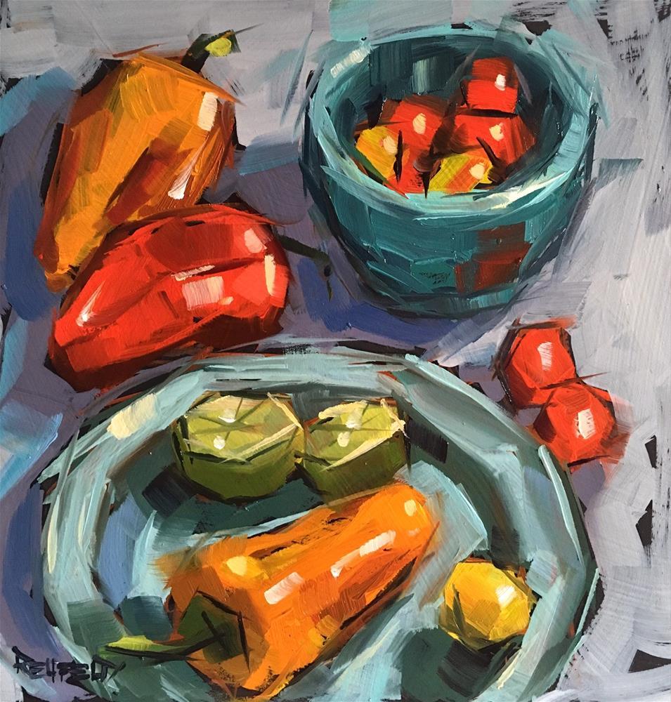 """""""Salsa Peppers"""" original fine art by Cathleen Rehfeld"""