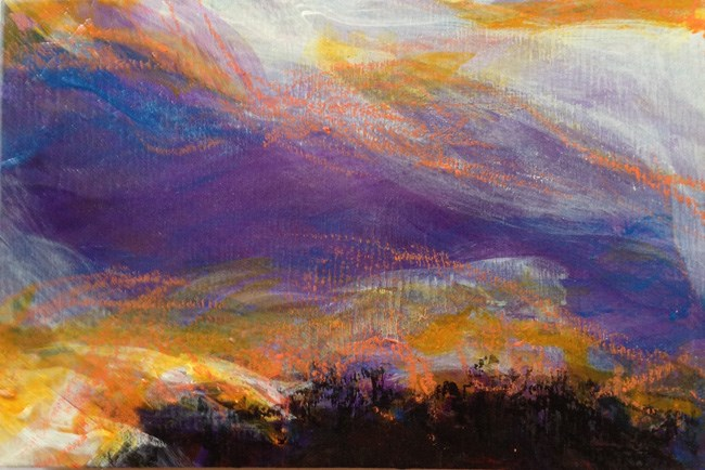 """GLOWING PURPLE SKY - 4 x 6 acrylic + pastel by Susan Roden"" original fine art by Susan Roden"