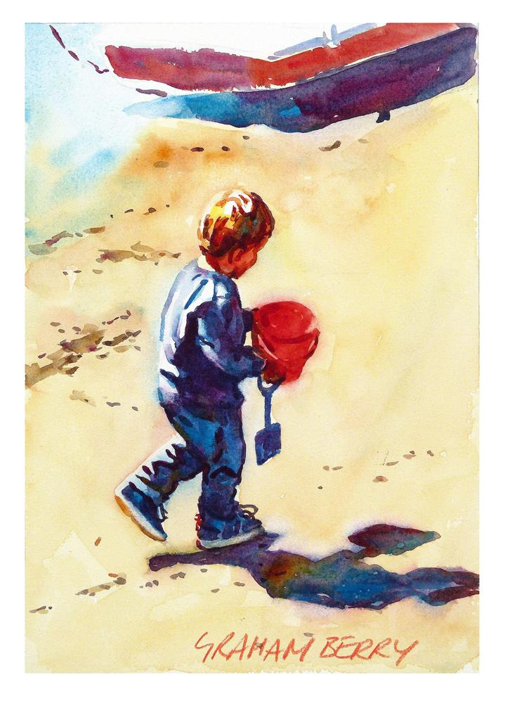 """Boy with a red bucket"" original fine art by Graham Berry"