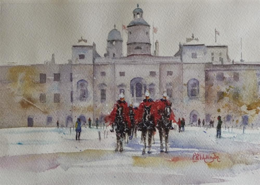 """Horse Guards Parade in the Snow - Buckingham Palace, London"" original fine art by Peter Wellington"
