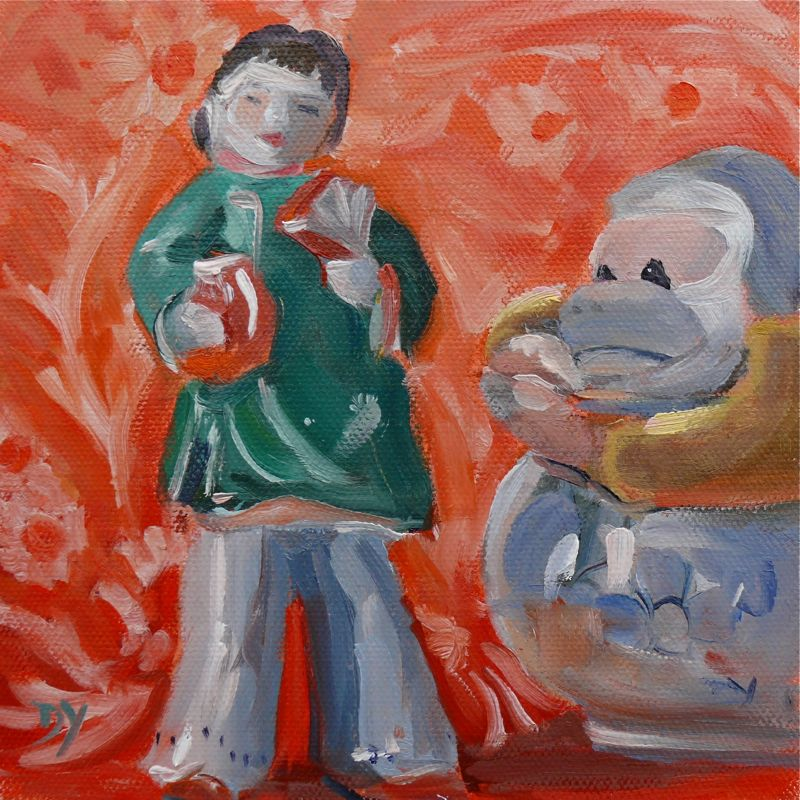 """Monkey Loves China Doll, oil on canvas board, 6x6"" original fine art by Darlene Young"