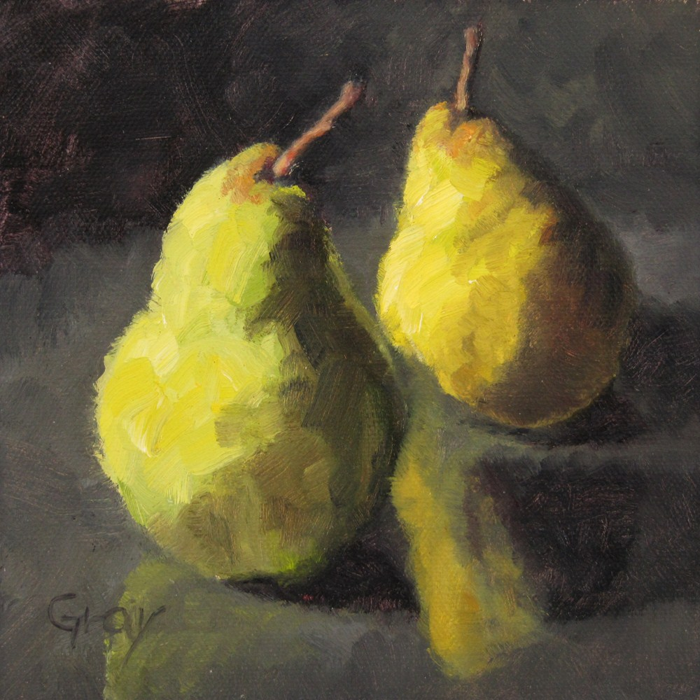 """Two Pears & Reflections"" original fine art by Naomi Gray"