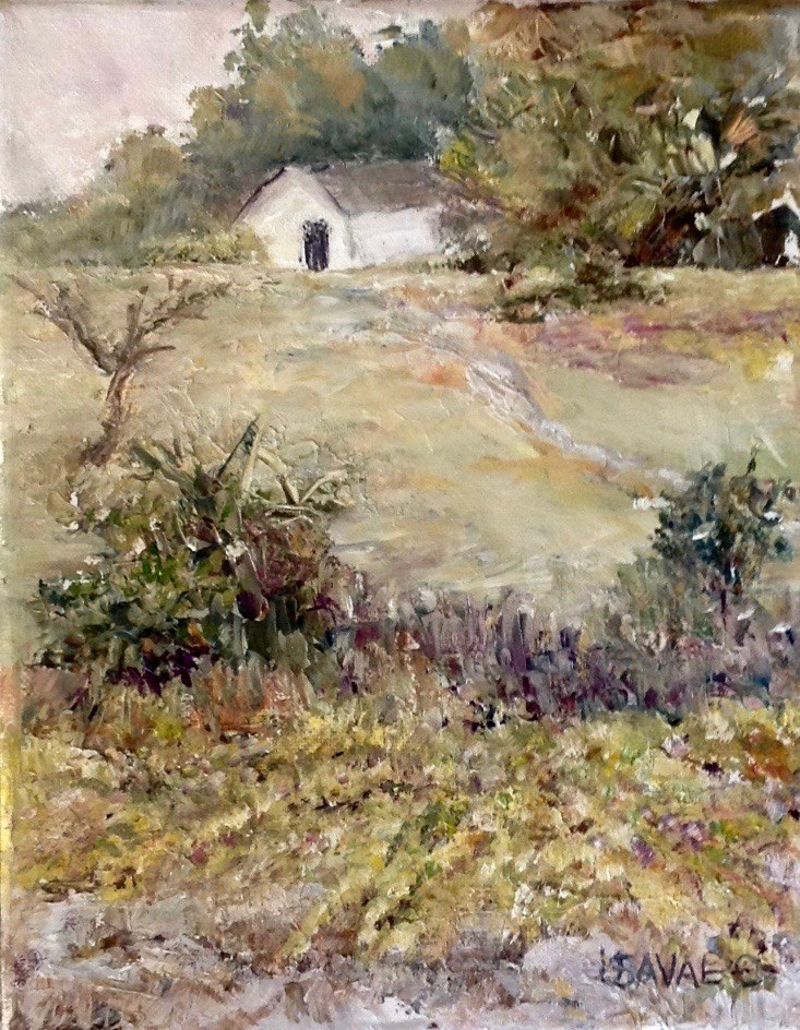 """""""House on the Hill"""" original fine art by Judy Usavage"""