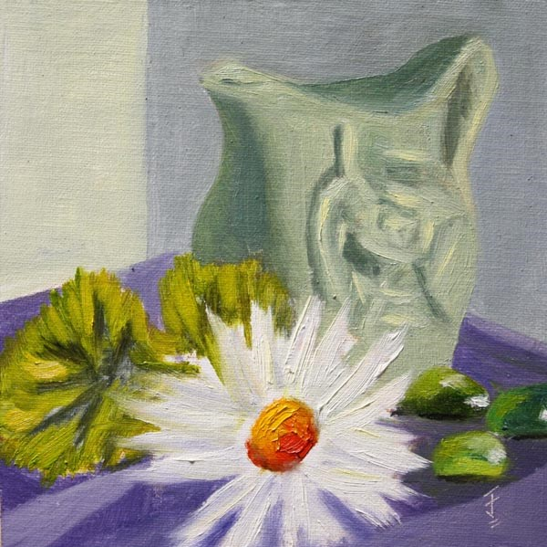 """Green Jug with Daisy"" original fine art by Jane Frederick"