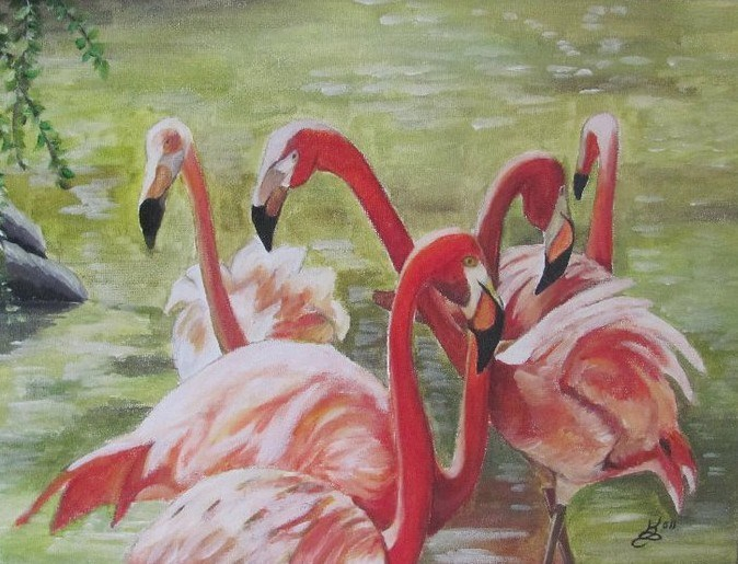 """Flamingos"" original fine art by Kim Selig"