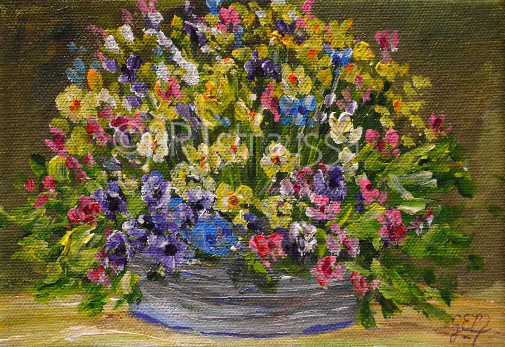 """Bucket Blooms"" original fine art by Gloria Ester"