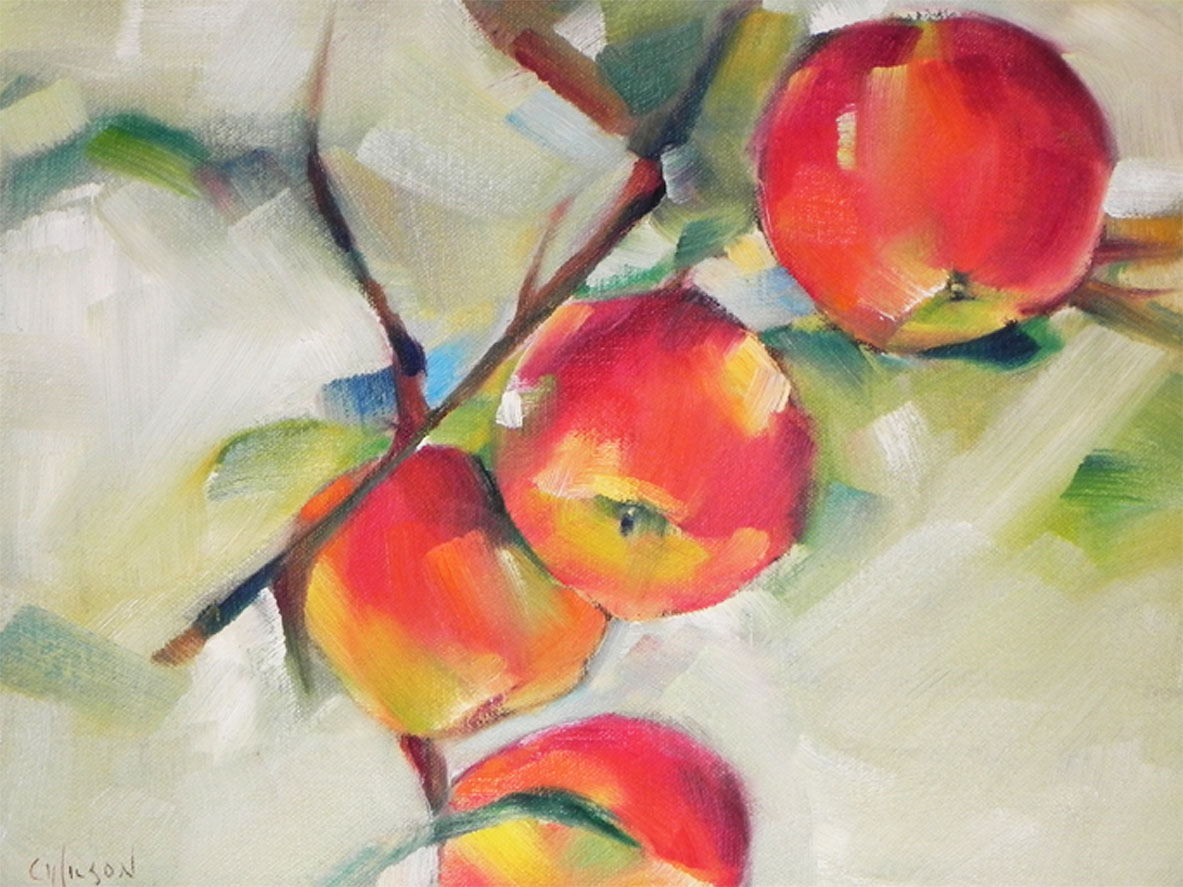 """Four Red Apples"" original fine art by Cheryl Wilson"