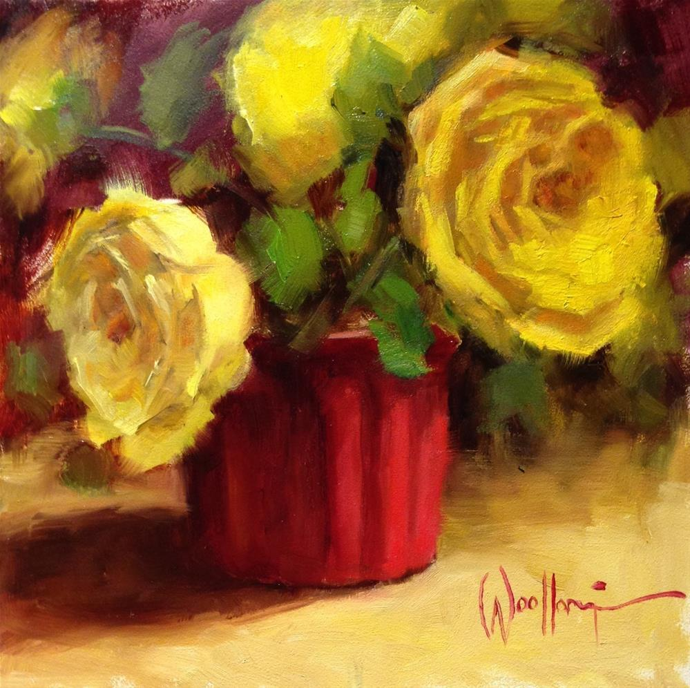 """Roses in French Pottery"" original fine art by Dorothy Woolbright"