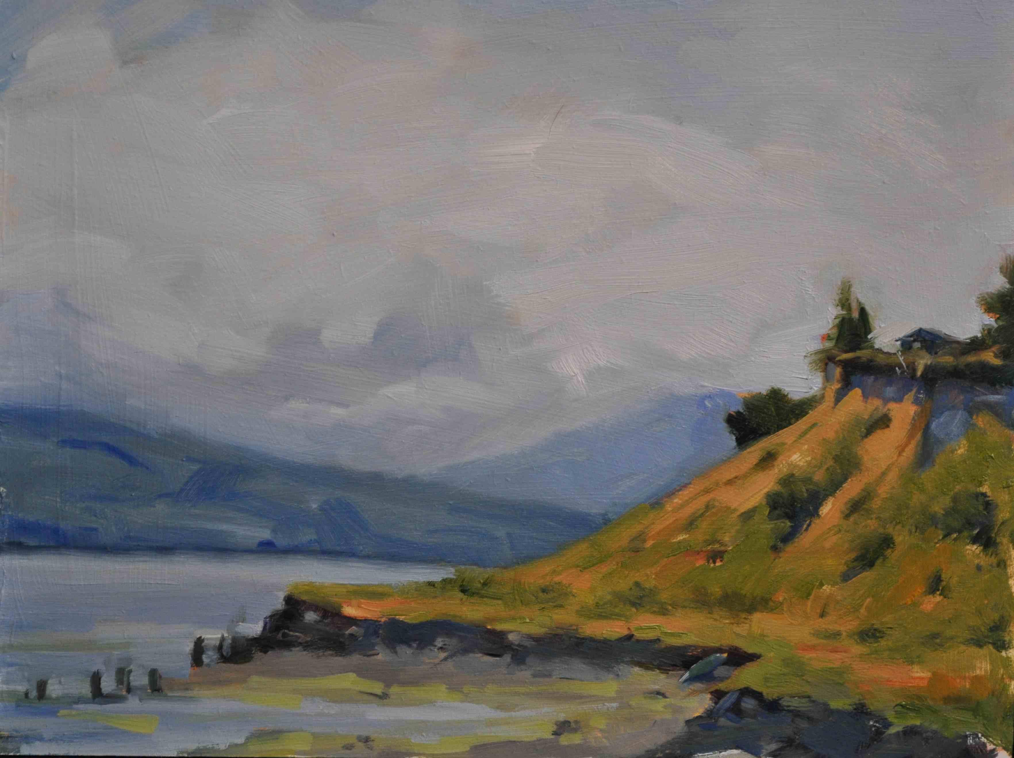 """'Port Townsend Cliff oil/board 9x12"" original fine art by Emiliya Lane"