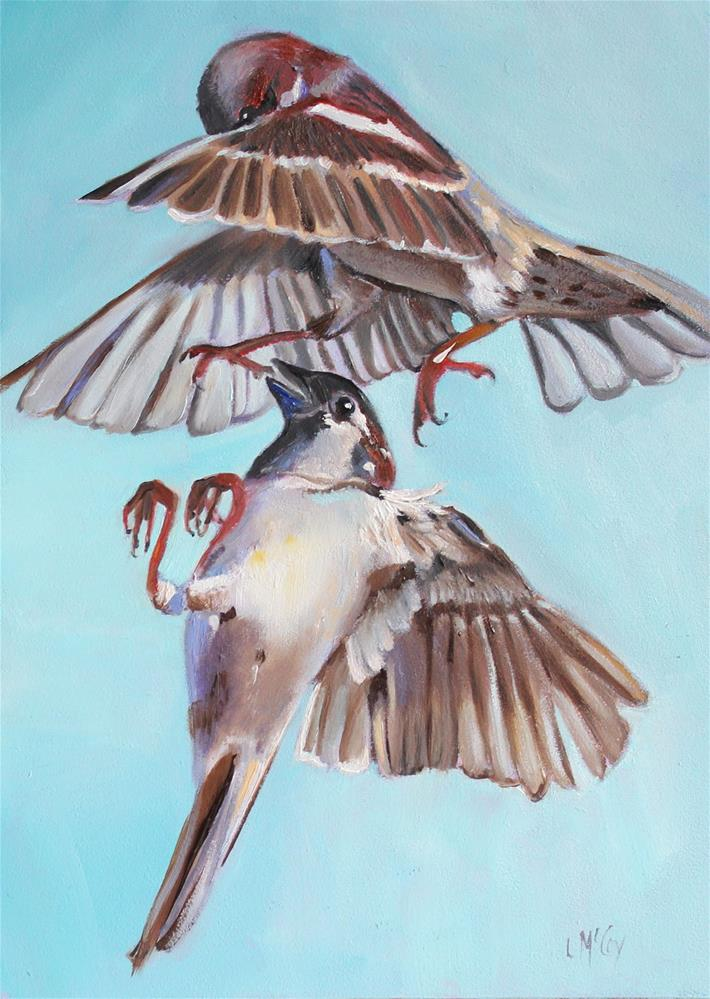 """Mid-Fight, Bird Oil Painting"" original fine art by Linda McCoy"
