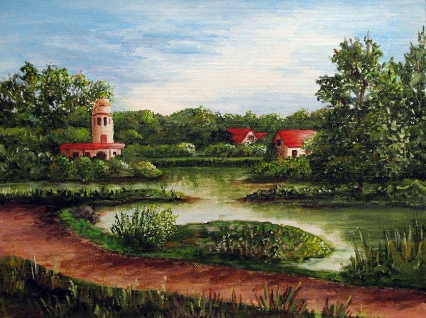 """Red Rooftops"" original fine art by Nan Johnson"