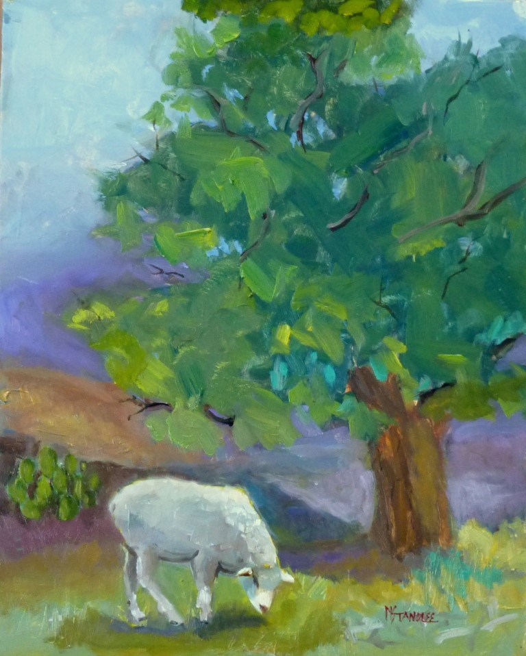 """LBJ Sheep 15020"" original fine art by Nancy Standlee"